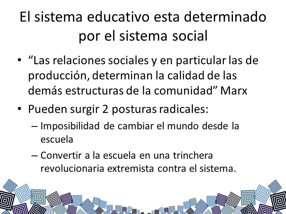El sistema educativo esta determinado por el sistema social Las relaciones sociales y en particular las de producción, determinan la calidad de las de