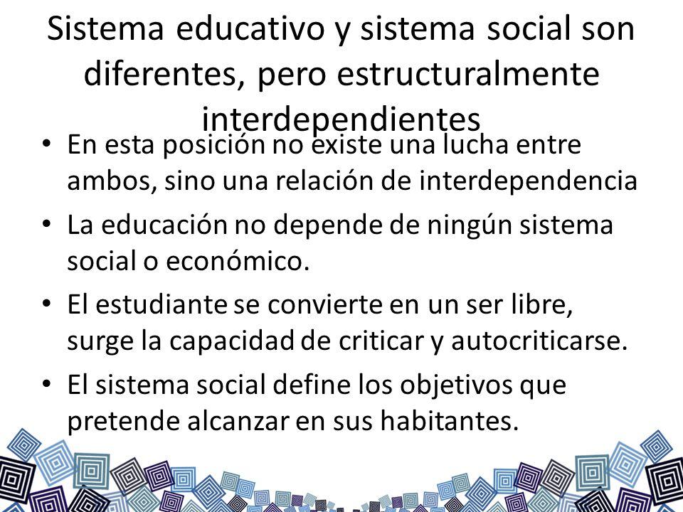 Sistema educativo y sistema social son diferentes, pero estructuralmente interdependientes En esta posición no existe una lucha entre ambos, sino una