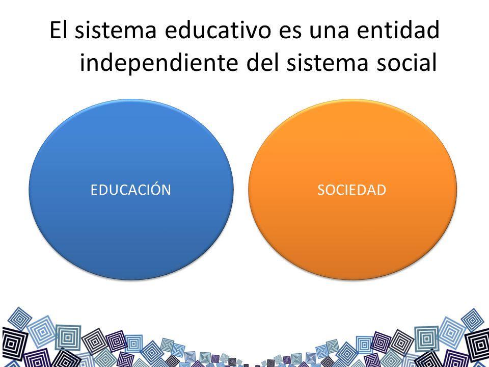 El sistema educativo es una entidad independiente del sistema social EDUCACIÓN SOCIEDAD