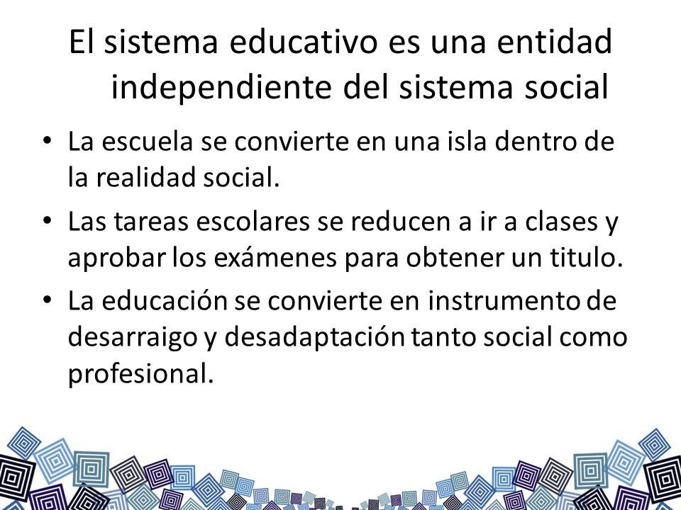 El sistema educativo es una entidad independiente del sistema social La escuela se convierte en una isla dentro de la realidad social. Las tareas esco