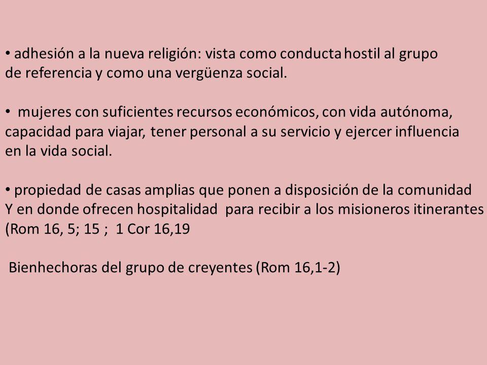 adhesión a la nueva religión: vista como conducta hostil al grupo de referencia y como una vergüenza social.
