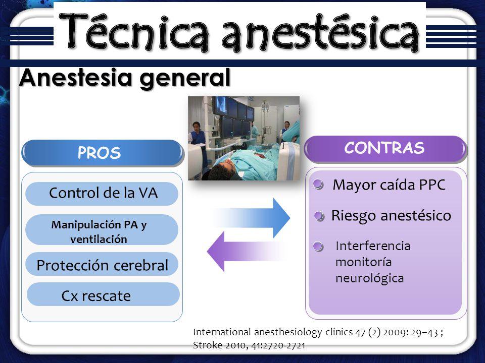 Anestesia general International anesthesiology clinics 47 (2) 2009: 29–43 ; Stroke 2010, 41:2720-2721 PROS Control de la VA Manipulación PA y ventilac