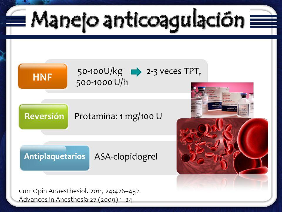 50-100U/kg 2-3 veces TPT, 500-1000 U/h HNF Reversión Antiplaquetarios Protamina: 1 mg/100 U ASA-clopidogrel Curr Opin Anaesthesiol. 2011, 24:426–432 A