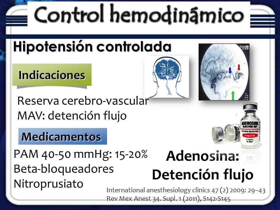 PAM 40-50 mmHg: 15-20% Beta-bloqueadores Nitroprusiato Hipotensión controlada Reserva cerebro-vascular MAV: detención flujoIndicaciones Medicamentos A