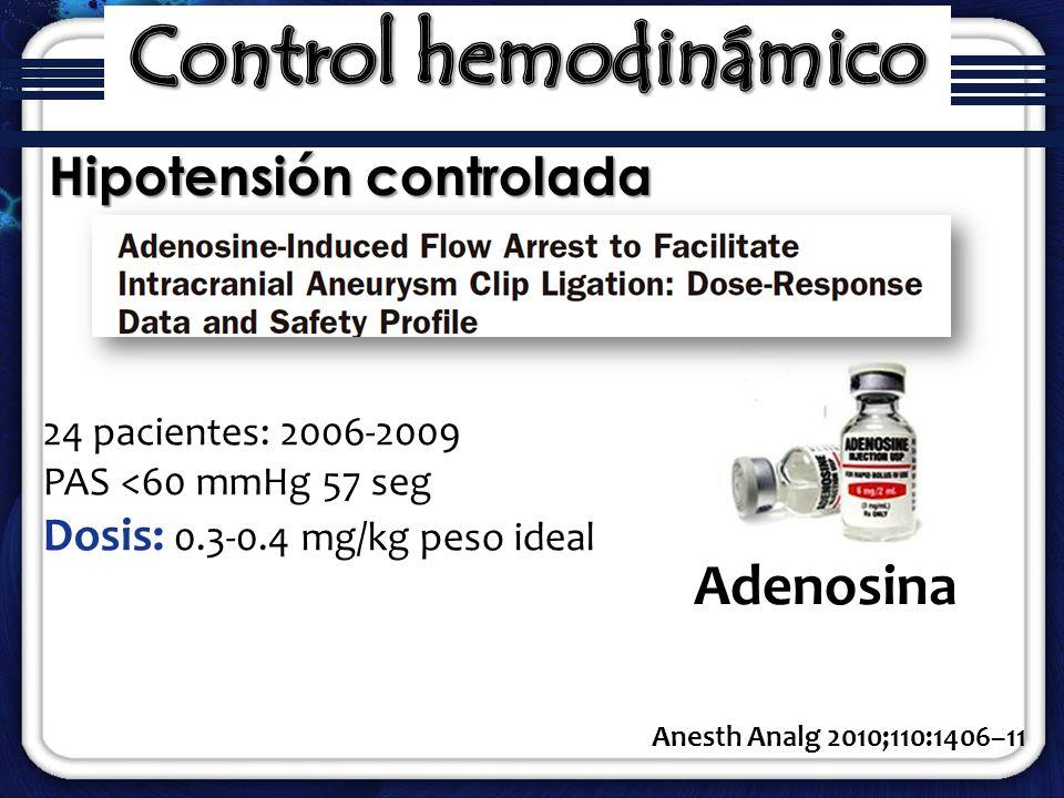 Hipotensión controlada Anesth Analg 2010;110:1406–11 Adenosina 24 pacientes: 2006-2009 PAS <60 mmHg 57 seg Dosis: 0.3-0.4 mg/kg peso ideal