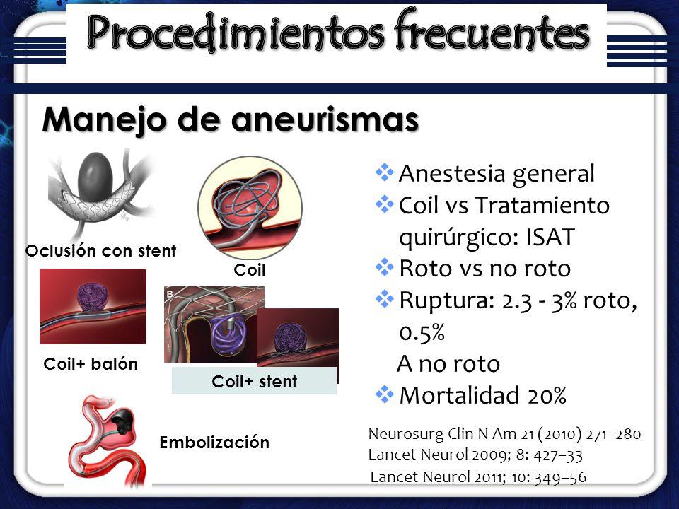 Anestesia general Coil vs Tratamiento quirúrgico: ISAT Roto vs no roto Ruptura: 2.3 - 3% roto, 0.5% A no roto Mortalidad 20% Manejo de aneurismas Neur