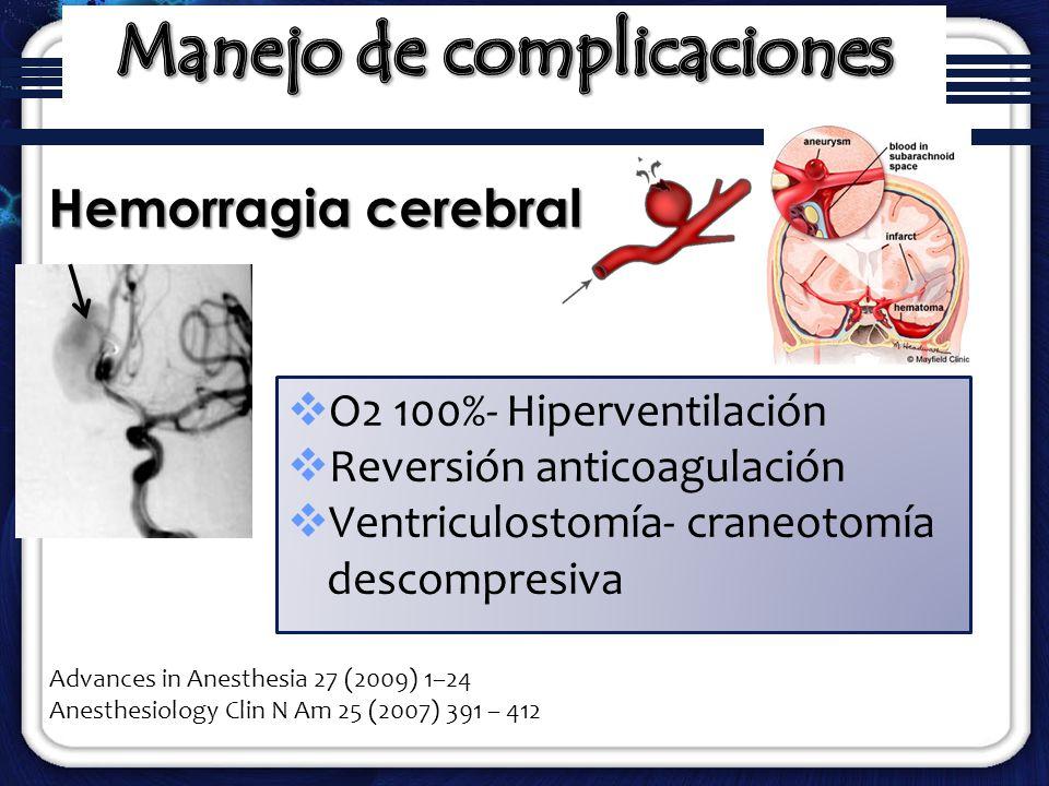 O2 100%- Hiperventilación Reversión anticoagulación Ventriculostomía- craneotomía descompresiva Hemorragia cerebral Advances in Anesthesia 27 (2009) 1