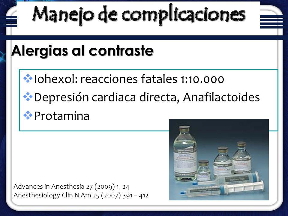 Iohexol: reacciones fatales 1:10.000 Depresión cardiaca directa, Anafilactoides Protamina Alergias al contraste Advances in Anesthesia 27 (2009) 1–24