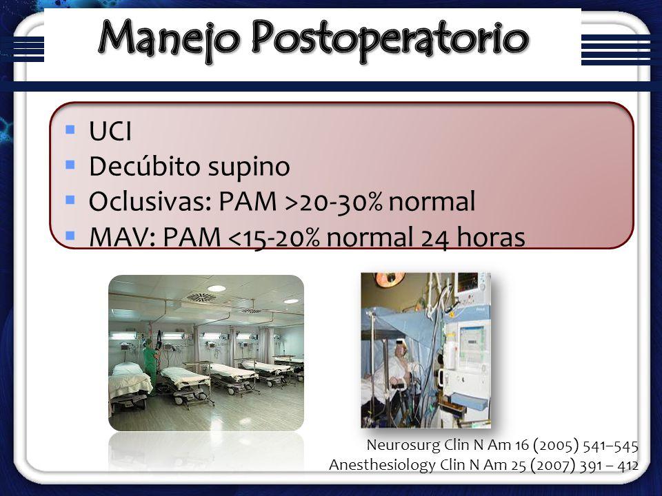 UCI Decúbito supino Oclusivas: PAM >20-30% normal MAV: PAM <15-20% normal 24 horas Neurosurg Clin N Am 16 (2005) 541–545 Anesthesiology Clin N Am 25 (