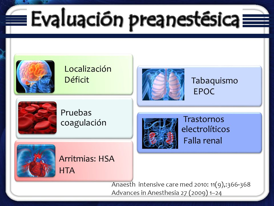 Localización Déficit Localización Déficit Pruebas coagulación Arritmias: HSA HTA Arritmias: HSA HTA Trastornos electrolíticos Falla renal Trastornos e