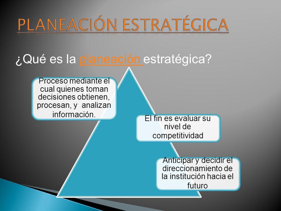 ¿Qué es la planeación estratégica?planeación Proceso mediante el cual quienes toman decisiones obtienen, procesan, y analizan información. El fin es e