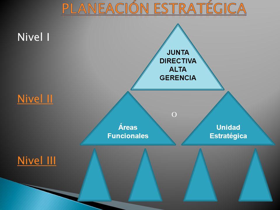 JUNTA DIRECTIVA ALTA GERENCIA Unidad Estratégica Áreas Funcionales Nivel I Nivel II Nivel III O
