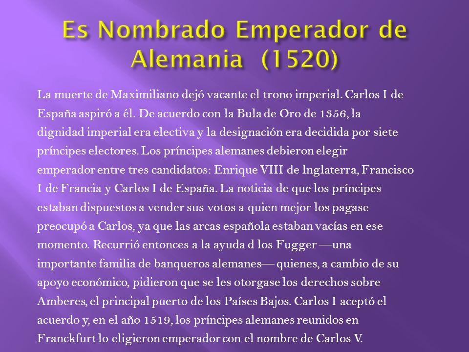 Hereda cuatro grupos de inmensos dominios del rey y Emperador (no dominios de España).