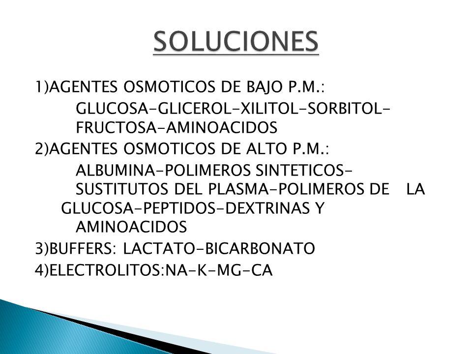 1)AGENTES OSMOTICOS DE BAJO P.M.: GLUCOSA-GLICEROL-XILITOL-SORBITOL- FRUCTOSA-AMINOACIDOS 2)AGENTES OSMOTICOS DE ALTO P.M.: ALBUMINA-POLIMEROS SINTETI