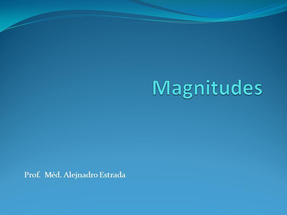 Magnitudes Escalares Son aquellas que quedan totalmente determinadas dando un solo número real y una unidad de medida.