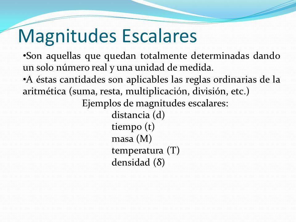 Magnitudes Escalares Son aquellas que quedan totalmente determinadas dando un solo número real y una unidad de medida. A éstas cantidades son aplicabl