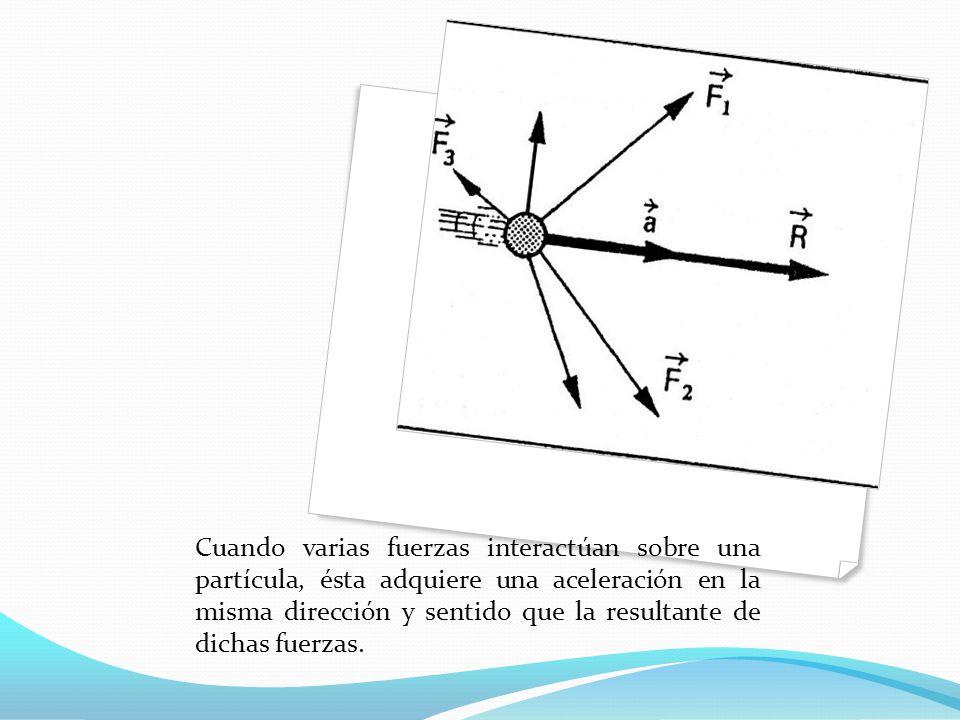Cuando varias fuerzas interactúan sobre una partícula, ésta adquiere una aceleración en la misma dirección y sentido que la resultante de dichas fuerz