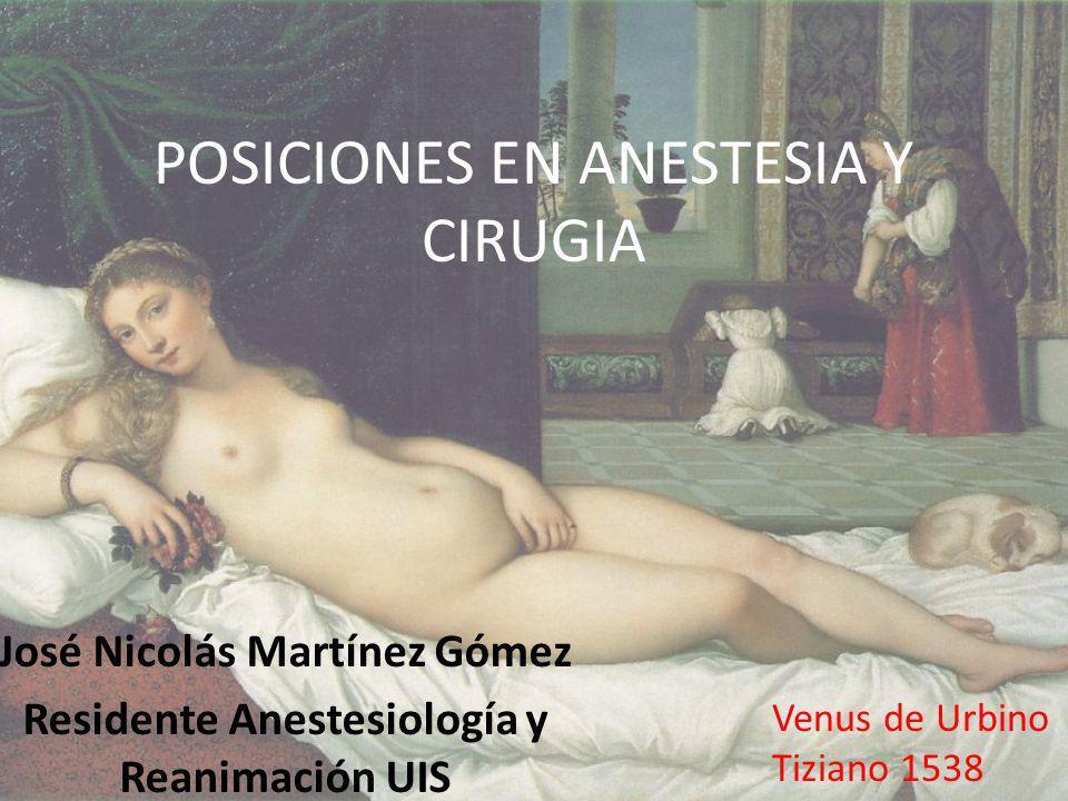 POSICIONES EN ANESTESIA Y CIRUGIA José Nicolás Martínez Gómez Residente Anestesiología y Reanimación UIS Venus de Urbino Tiziano 1538