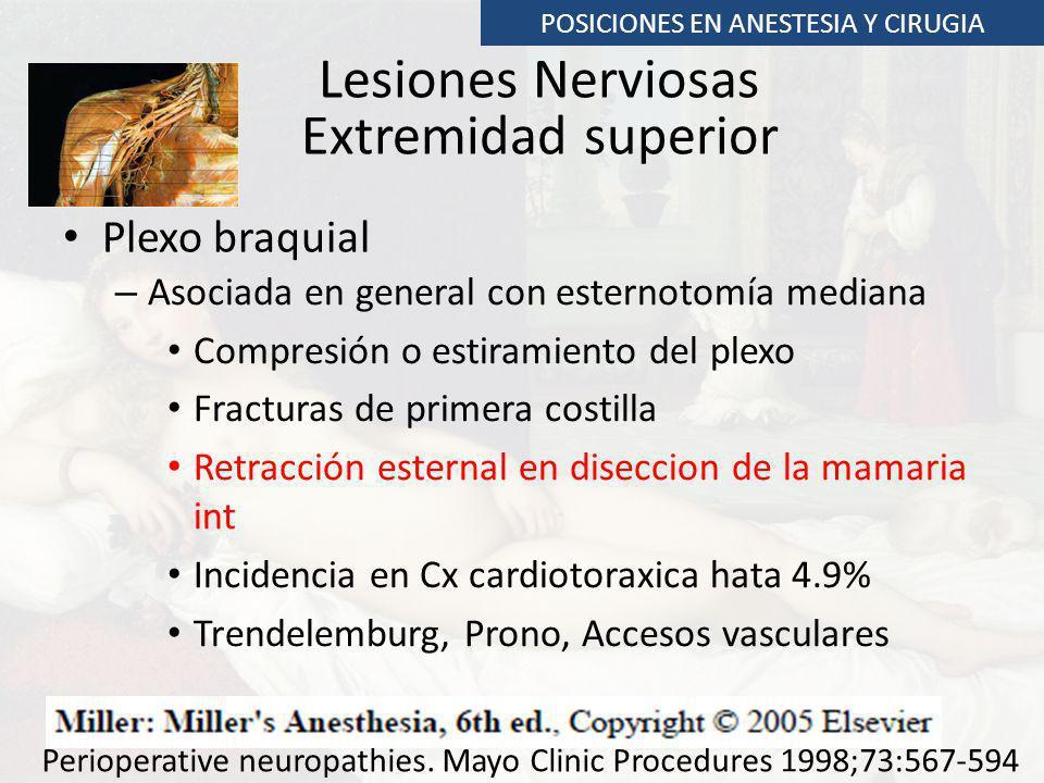 Lesiones Nerviosas Extremidad superior Plexo braquial POSICIONES EN ANESTESIA Y CIRUGIA – Asociada en general con esternotomía mediana Compresión o es