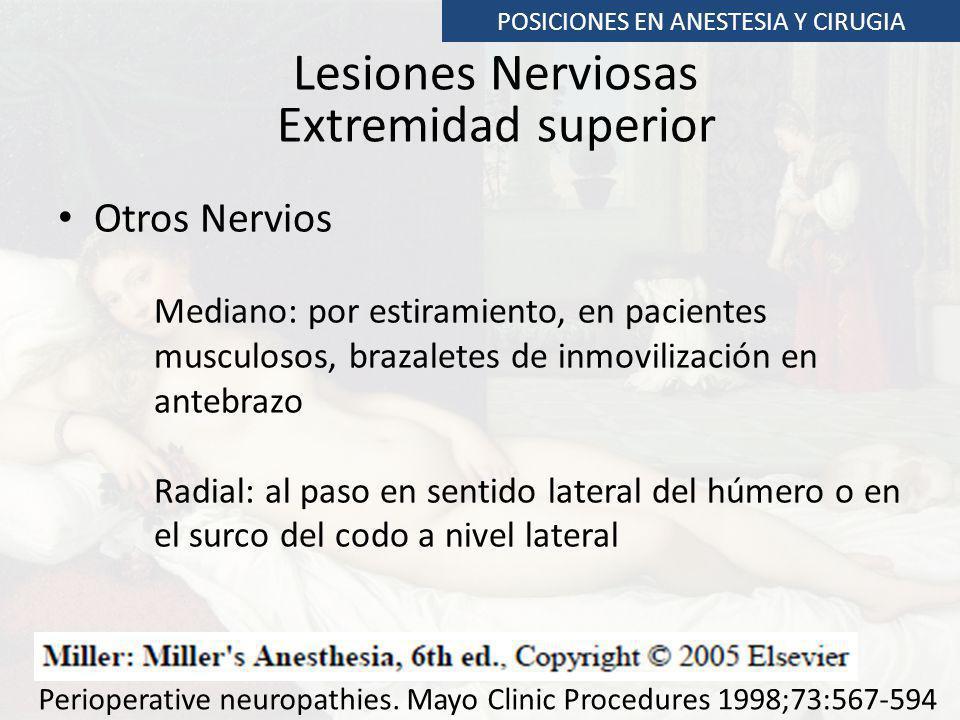 Lesiones Nerviosas Extremidad superior Otros Nervios Mediano: por estiramiento, en pacientes musculosos, brazaletes de inmovilización en antebrazo Rad