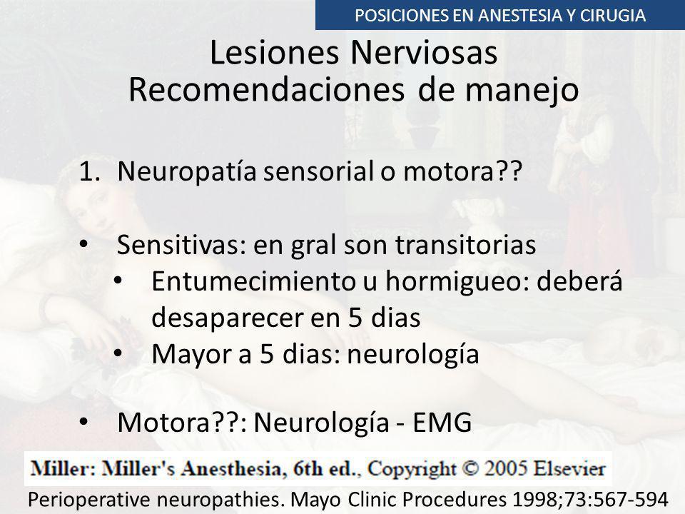 Lesiones Nerviosas Recomendaciones de manejo 1.Neuropatía sensorial o motora?? Sensitivas: en gral son transitorias Entumecimiento u hormigueo: deberá