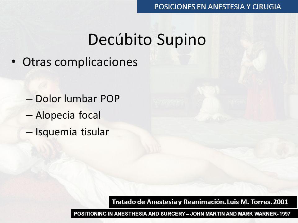 POSICIONES EN ANESTESIA Y CIRUGIA Decúbito Supino Otras complicaciones – Dolor lumbar POP – Alopecia focal – Isquemia tisular Tratado de Anestesia y R