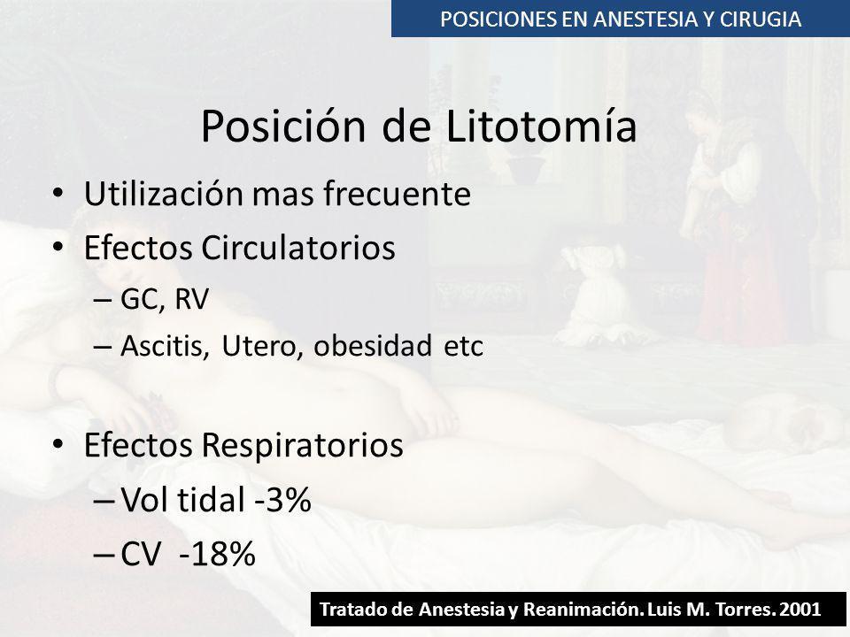 POSICIONES EN ANESTESIA Y CIRUGIA Posición de Litotomía Utilización mas frecuente Efectos Circulatorios – GC, RV – Ascitis, Utero, obesidad etc Efecto