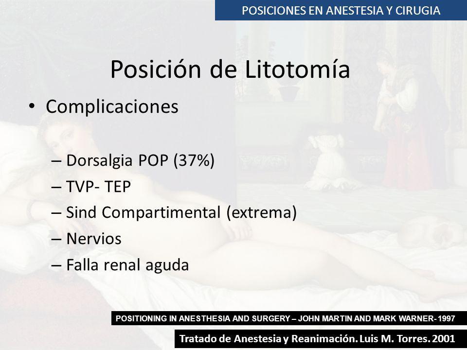 POSICIONES EN ANESTESIA Y CIRUGIA Posición de Litotomía Complicaciones – Dorsalgia POP (37%) – TVP- TEP – Sind Compartimental (extrema) – Nervios – Fa