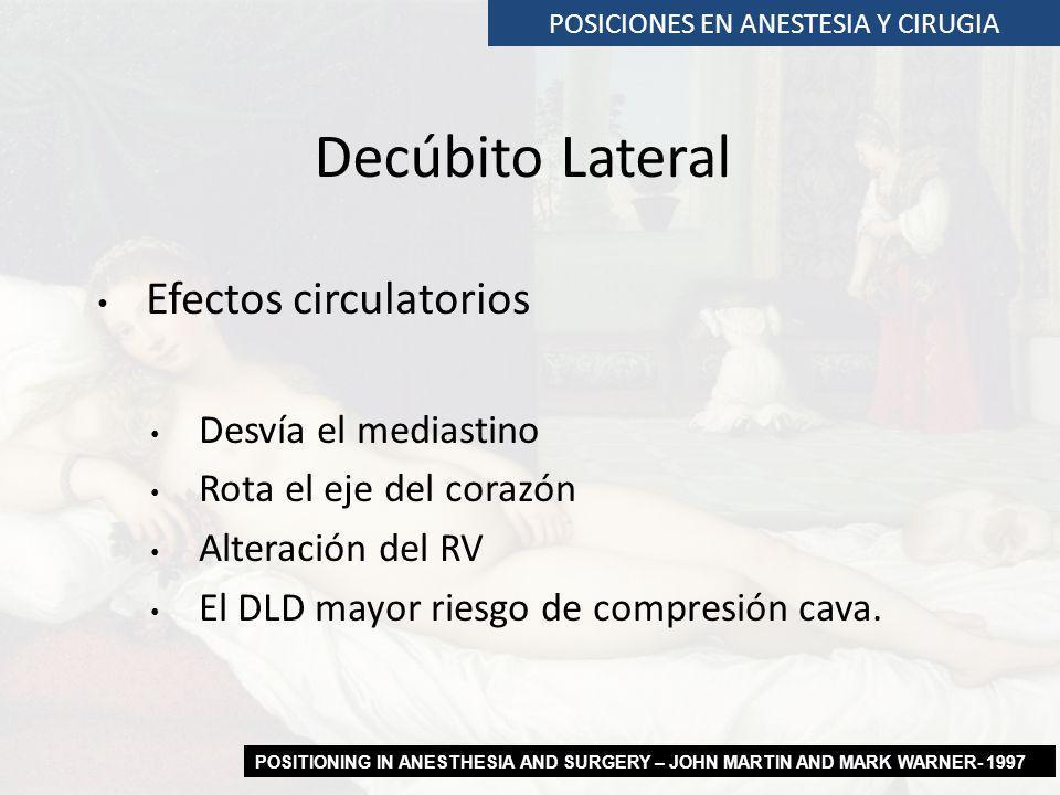 Efectos circulatorios Desvía el mediastino Rota el eje del corazón Alteración del RV El DLD mayor riesgo de compresión cava. POSICIONES EN ANESTESIA Y