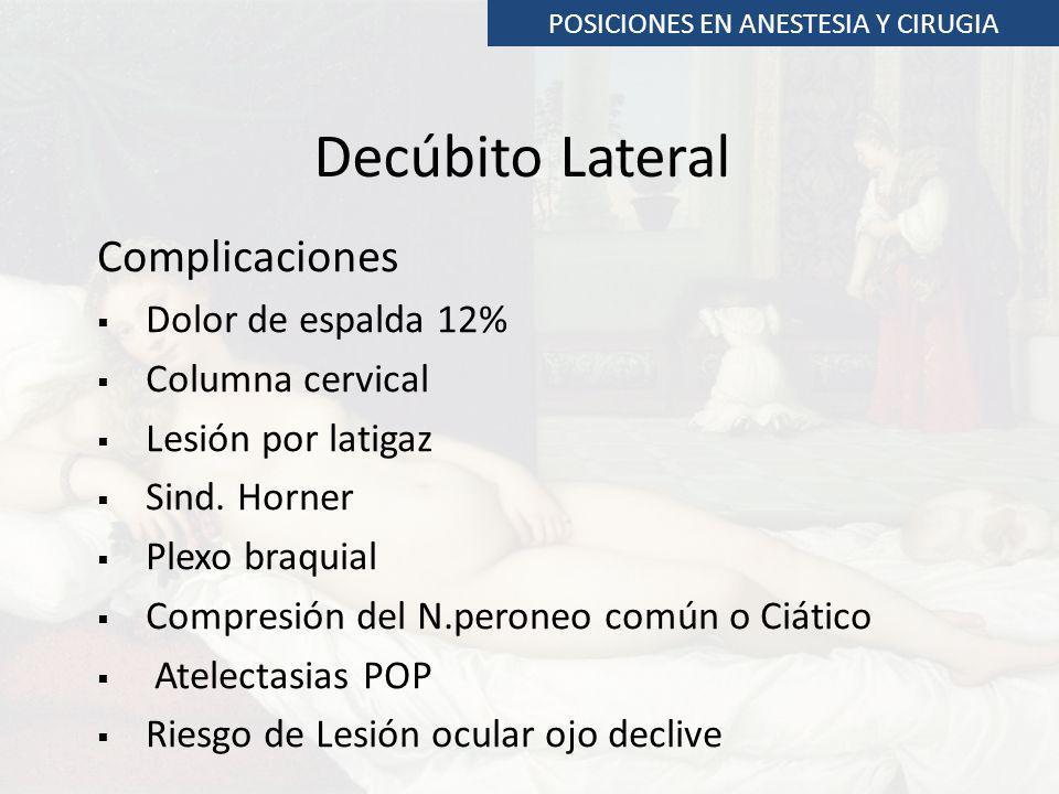 Complicaciones Dolor de espalda 12% Columna cervical Lesión por latigaz Sind. Horner Plexo braquial Compresión del N.peroneo común o Ciático Atelectas