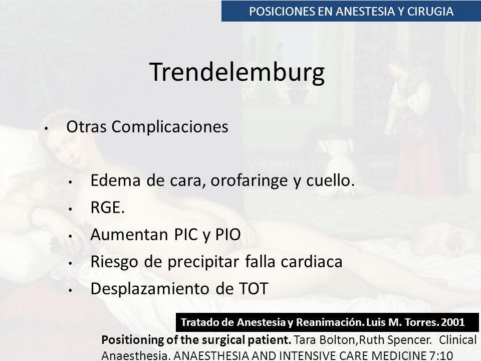 POSICIONES EN ANESTESIA Y CIRUGIA Trendelemburg Otras Complicaciones Edema de cara, orofaringe y cuello. RGE. Aumentan PIC y PIO Riesgo de precipitar