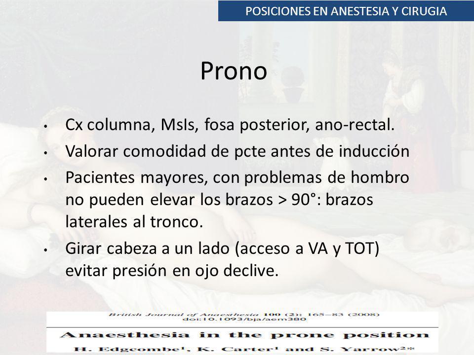 POSICIONES EN ANESTESIA Y CIRUGIA Prono Cx columna, MsIs, fosa posterior, ano-rectal. Valorar comodidad de pcte antes de inducción Pacientes mayores,