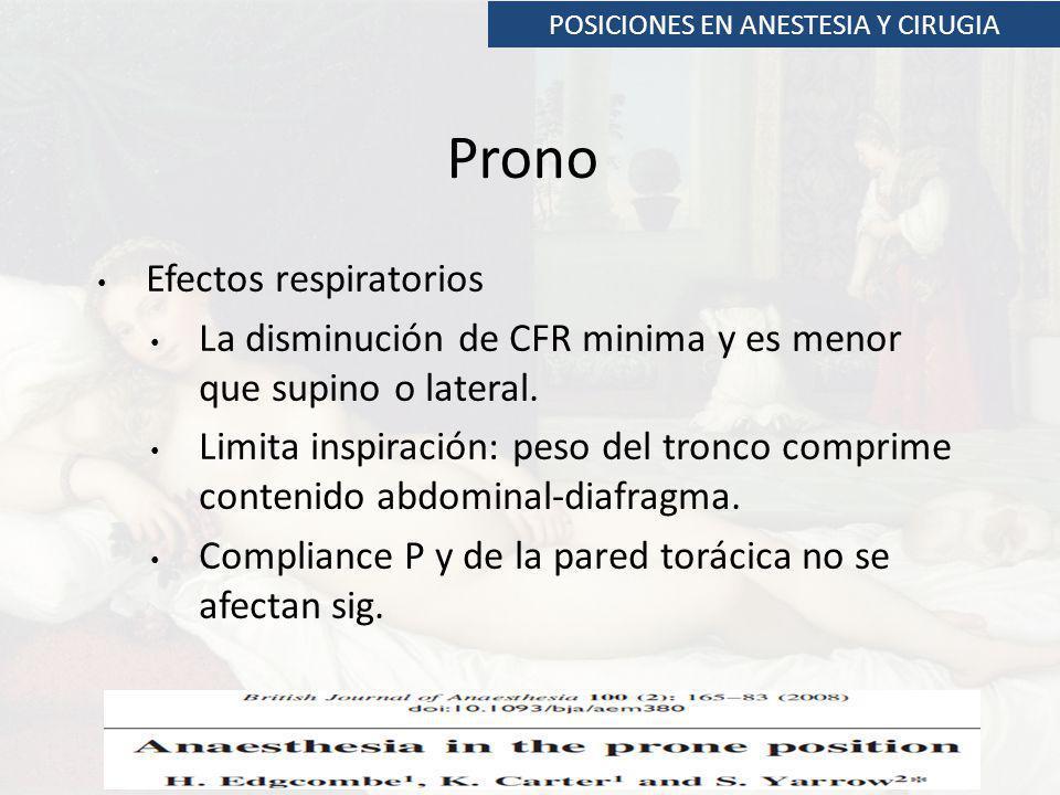 POSICIONES EN ANESTESIA Y CIRUGIA Prono Efectos respiratorios La disminución de CFR minima y es menor que supino o lateral. Limita inspiración: peso d