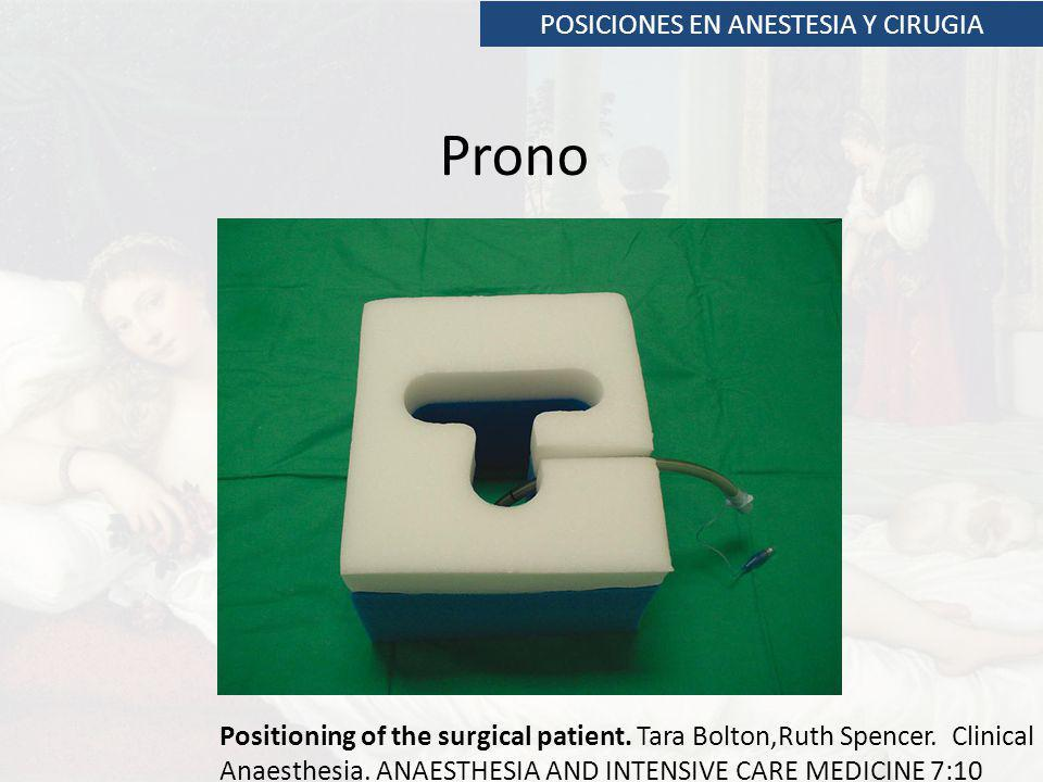 POSICIONES EN ANESTESIA Y CIRUGIA Prono Positioning of the surgical patient.