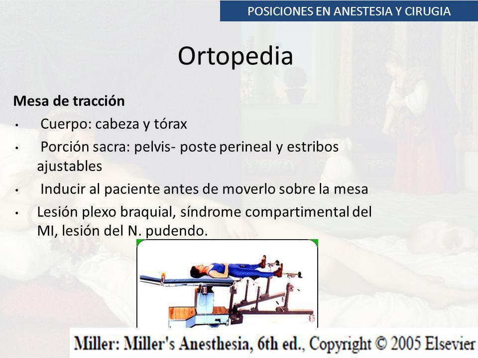 POSICIONES EN ANESTESIA Y CIRUGIA Ortopedia Mesa de tracción Cuerpo: cabeza y tórax Porción sacra: pelvis- poste perineal y estribos ajustables Induci