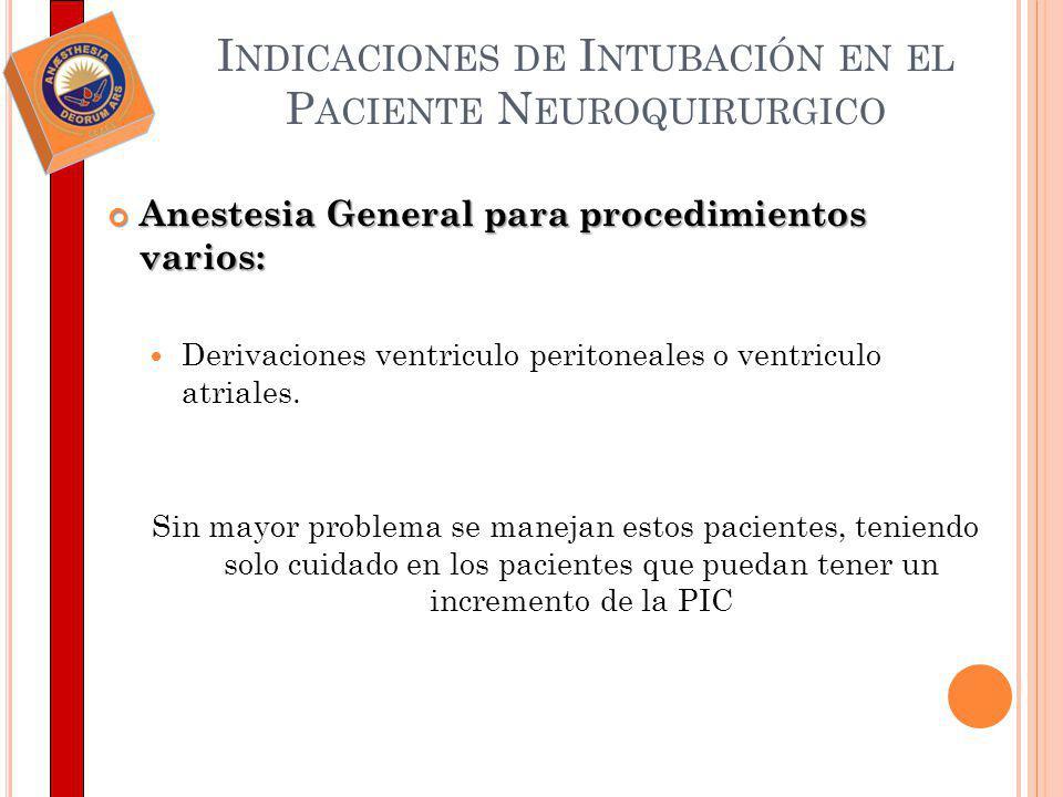 I NDICACIONES DE I NTUBACIÓN EN EL P ACIENTE N EUROQUIRURGICO Anestesia General para procedimientos varios: Anestesia General para procedimientos vari