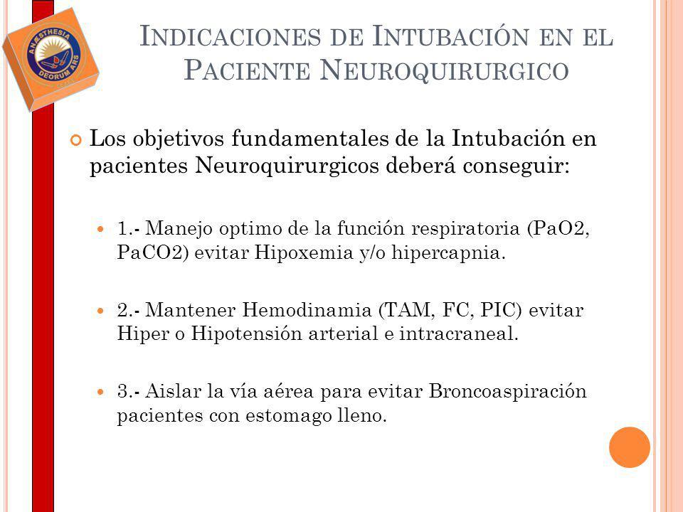 I NDICACIONES DE I NTUBACIÓN EN EL P ACIENTE N EUROQUIRURGICO Los objetivos fundamentales de la Intubación en pacientes Neuroquirurgicos deberá conseg