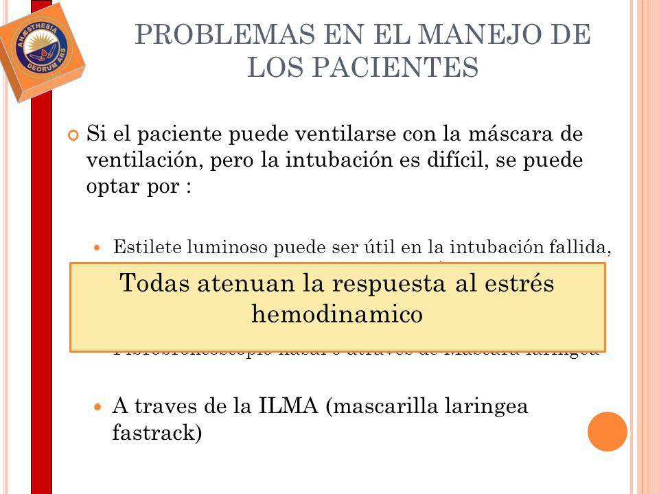 PROBLEMAS EN EL MANEJO DE LOS PACIENTES Si el paciente puede ventilarse con la máscara de ventilación, pero la intubación es difícil, se puede optar p