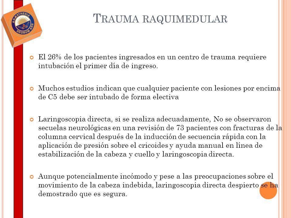 El 26% de los pacientes ingresados en un centro de trauma requiere intubación el primer día de ingreso. Muchos estudios indican que cualquier paciente