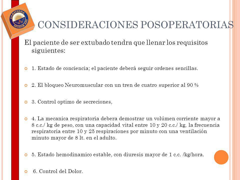 CONSIDERACIONES POSOPERATORIAS El paciente de ser extubado tendra que llenar los requisitos siguientes: 1. Estado de conciencia; el paciente deberá se