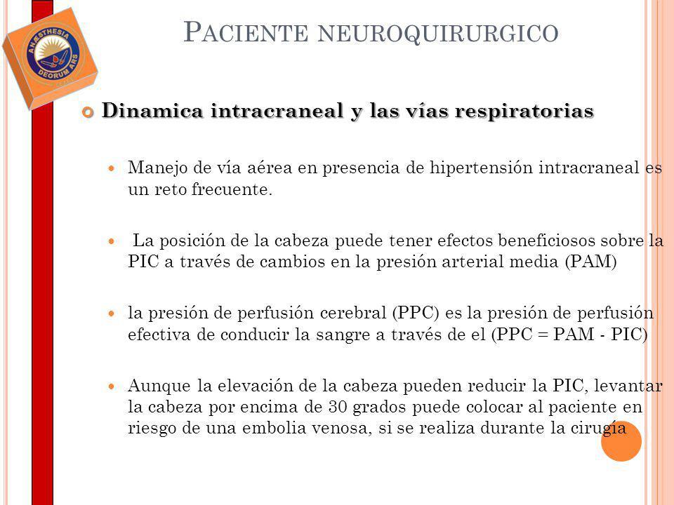 P ACIENTE NEUROQUIRURGICO La ventilación está íntimamente relacionado con el flujo sanguíneo cerebral (FSC) Evitar la hipercapnia es esencial en el manejo de pacientes con hipertensión intracraneal.
