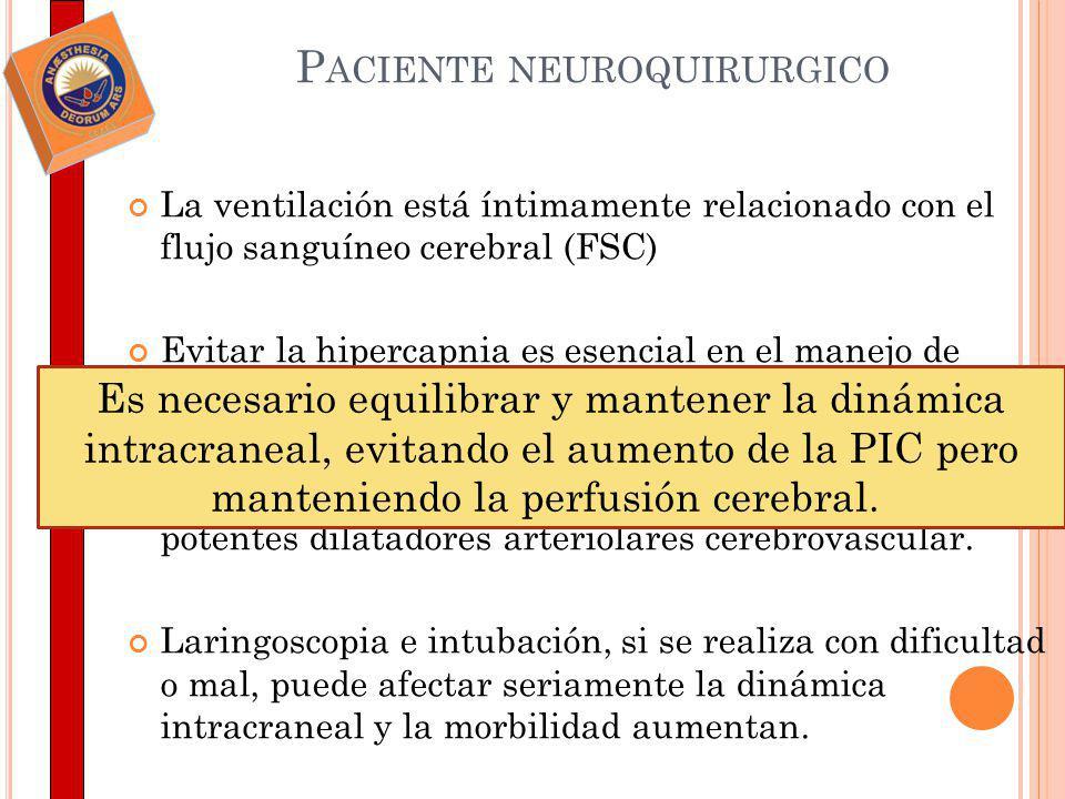 PROBLEMAS EN EL MANEJO DE LOS PACIENTES Tras la pérdida de la conciencia, la hiperventilación manual debe proceder tanto antes como después de la administración de relajantes musculares.