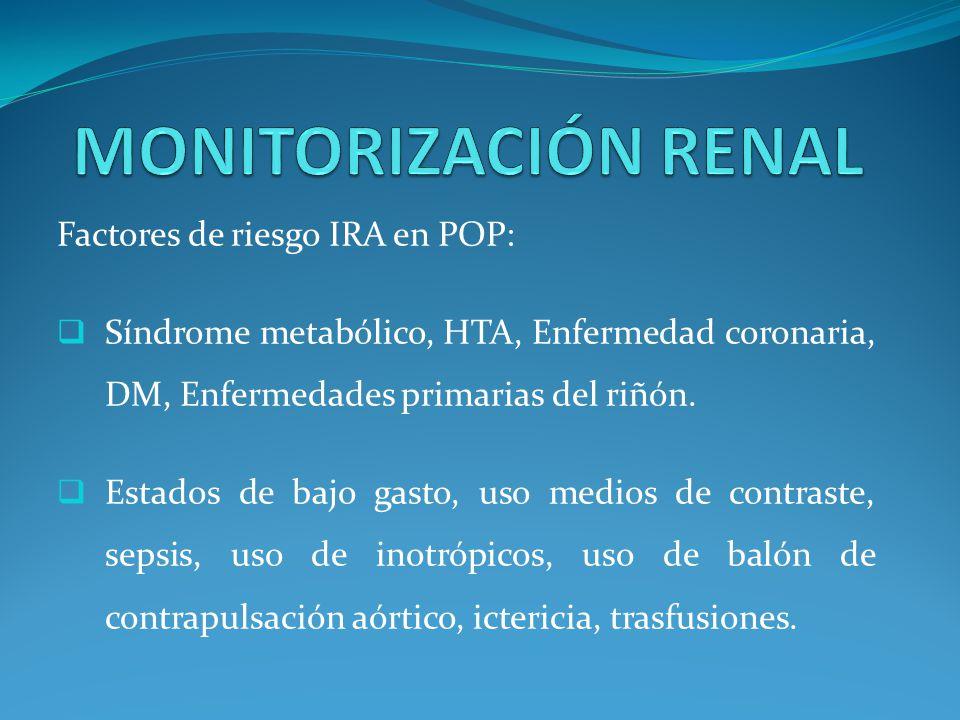 Factores de riesgo IRA en POP: Síndrome metabólico, HTA, Enfermedad coronaria, DM, Enfermedades primarias del riñón.