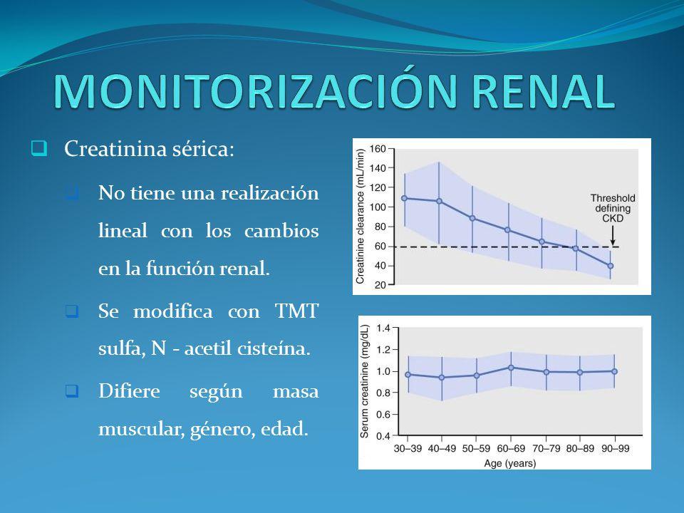 Creatinina sérica: No tiene una realización lineal con los cambios en la función renal.