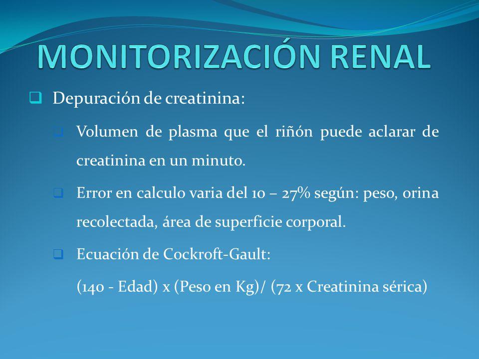 Depuración de creatinina: Volumen de plasma que el riñón puede aclarar de creatinina en un minuto.