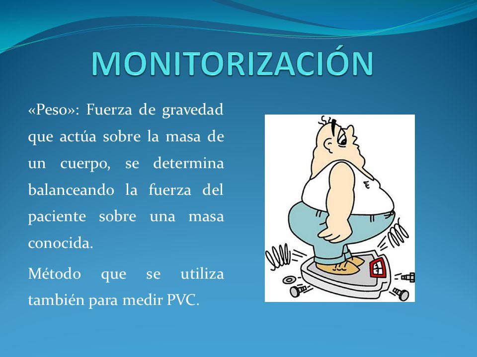 «Peso»: Fuerza de gravedad que actúa sobre la masa de un cuerpo, se determina balanceando la fuerza del paciente sobre una masa conocida.