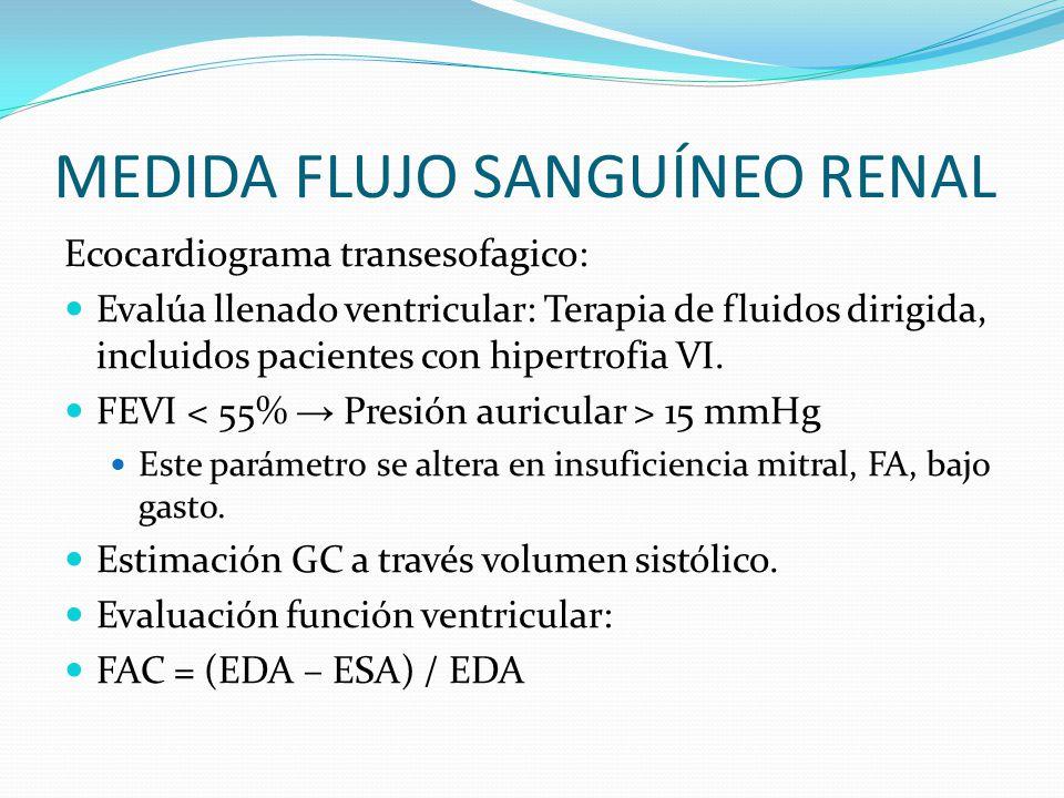 MEDIDA FLUJO SANGUÍNEO RENAL Ecocardiograma transesofagico: Evalúa llenado ventricular: Terapia de fluidos dirigida, incluidos pacientes con hipertrofia VI.