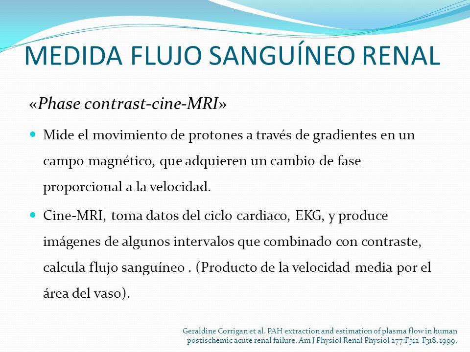 MEDIDA FLUJO SANGUÍNEO RENAL «Phase contrast-cine-MRI» Mide el movimiento de protones a través de gradientes en un campo magnético, que adquieren un cambio de fase proporcional a la velocidad.