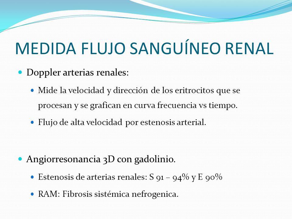 MEDIDA FLUJO SANGUÍNEO RENAL Doppler arterias renales: Mide la velocidad y dirección de los eritrocitos que se procesan y se grafican en curva frecuencia vs tiempo.