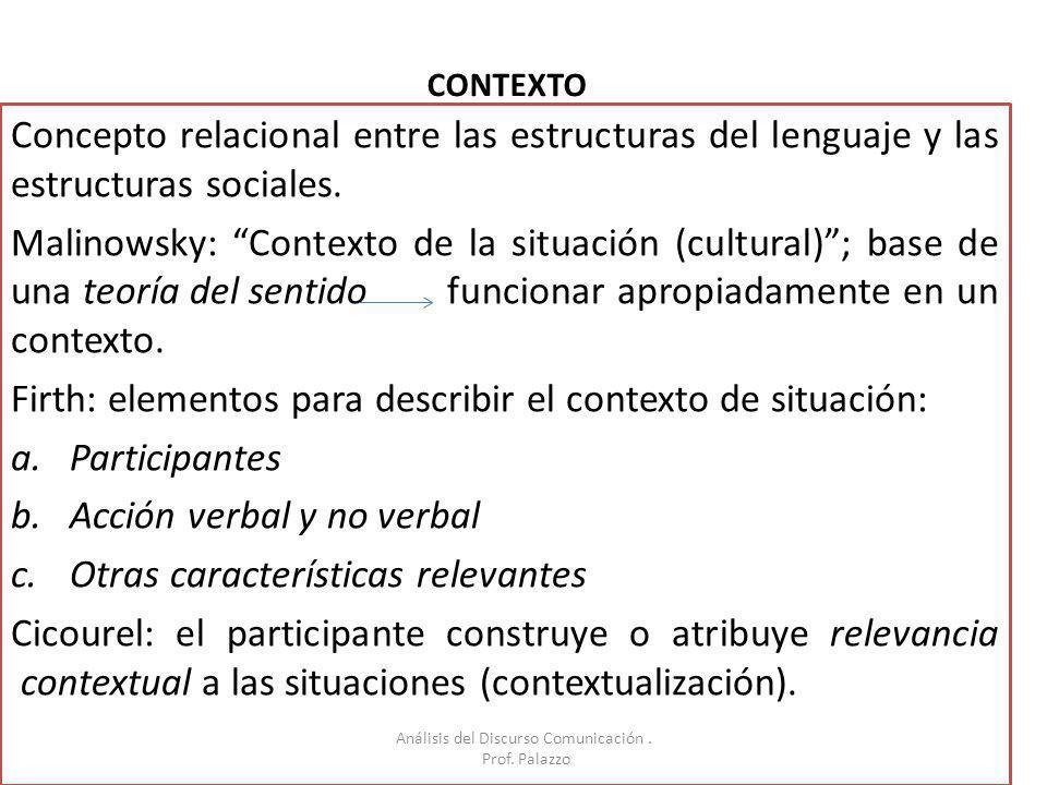 CONTEXTO Concepto relacional entre las estructuras del lenguaje y las estructuras sociales. Malinowsky: Contexto de la situación (cultural); base de u